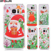 STROLLIFE Phone Cases For Samsung Galaxy S6 S6edge Christmas Tree Liquid Quicksand Glitter Clear Hard PC Back Cover Capa Coque