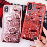 SUYACS Glitter Quicksand Foil Hearts Gilding Phone Case For IPhone 6 6S 7 8 Plus X 3D Lips Transparent Soft TPU Cases Cover