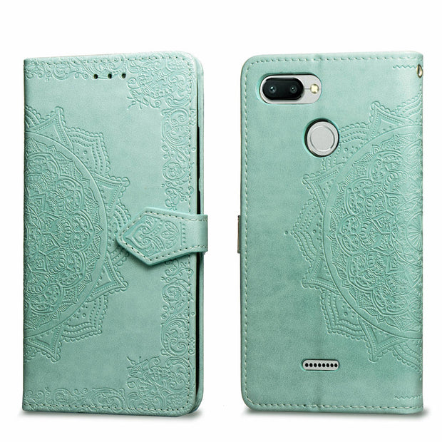 SUYACS Phone Case For Xiaomi 5X 6 8 8SE 6X Redmi Note 4 4X 6 6A 6Pro Mandala Emboss Plain Leather Flip Soft Back Phone Case