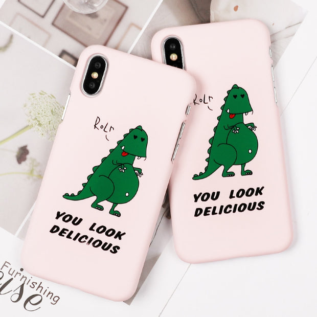SUYACS Phone Case For IPhone 6 6S 7 8 Plus X English Letter Cute Dinosaur Matte Frosted Hard PC Graphic Phone Cover Cases Shells