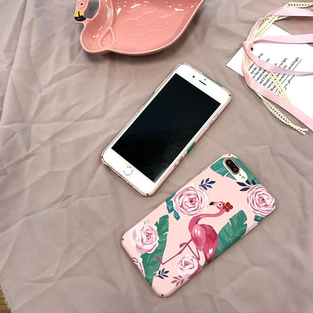 SZYHOME Phone Cases For IPhone X 6 6s 7 8 Plus Pink Rose Red Bird Hard Quality Frosted Plastic Phone Cover Case Capa Coque