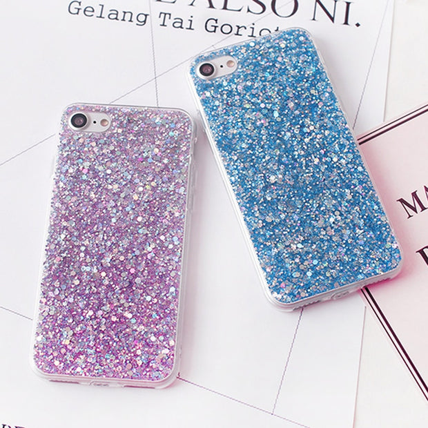 Shinning Glitter Powder Soft Covers For Iphone 5 5S SE 6 6S Plus Luxury Colorful Powder For Iphone 7 7 Plus Phone Capa Fundas