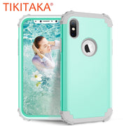 Shockproof Phone Cases For IPhone X 7 6 6S Plus Cover PC+TPU 3 Layers Hybrid Full Body Protect Case Anti-Knock Phone Shell Coque