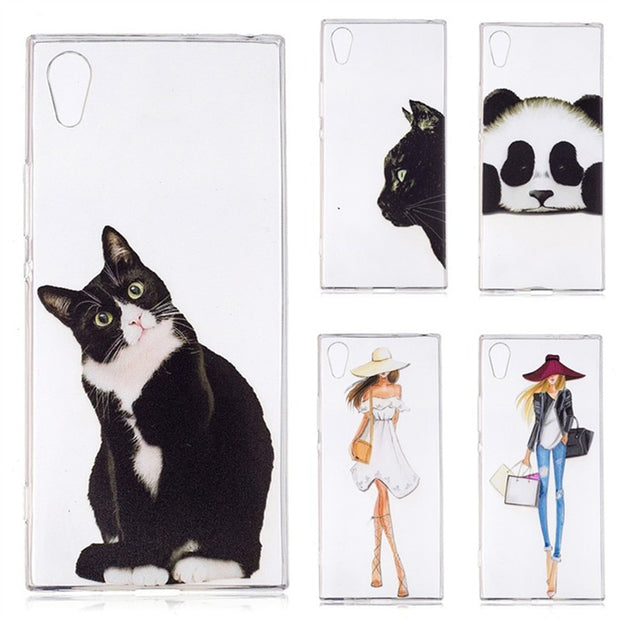 Silicone Cases For Sony Xperia XA1 Back Cover TPU Gel Kitty Phone Case For Sony Xperia XA1 Tiger Cat Dolphin Panda Coque Etui