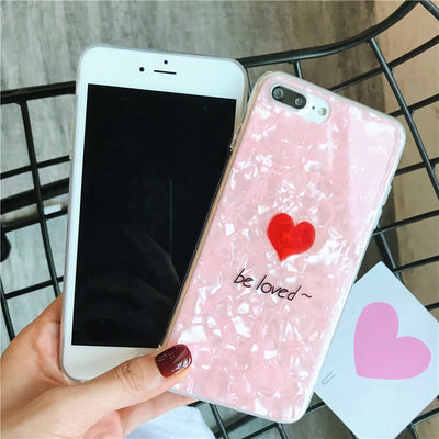 Silicone Soft Case For IPhone 6S Plus Back Cover Loving Heart Patterned Anti-knock Case For IPhone 7 Coque IPhone 8 Plus X Cover