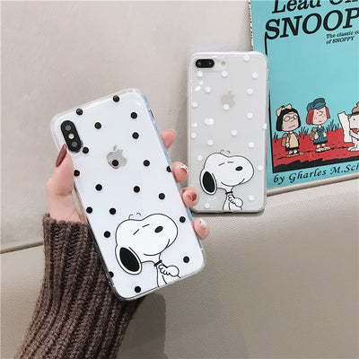 Snoopys Phone Case For IPhone 6 7 8 Cute Transparent Soft Tpu Case For XR XSMax 7plus Cartoon Dog Silicone Cover For Iphone X 6P