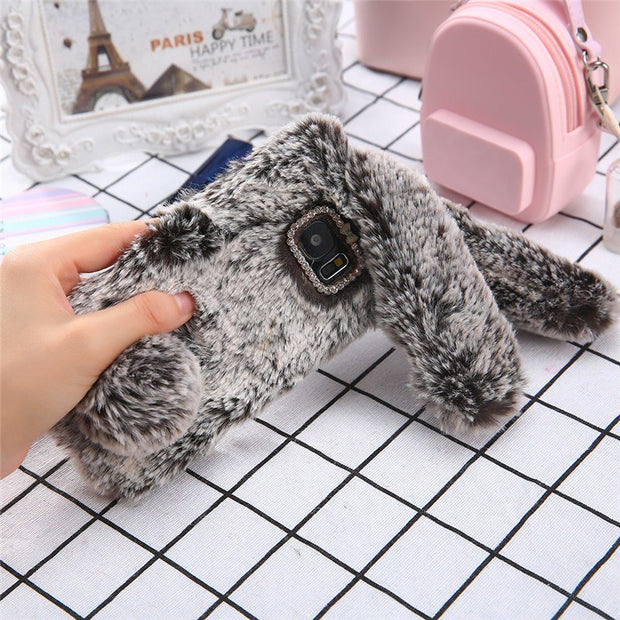 Snzvok Cute Long Ear Rabbit Hairy Phone Case For Samsung S6 S7 Edge S8 S9 Plus S5 Note 8 Bling Rhinestone Warm Plush Bunny Cover