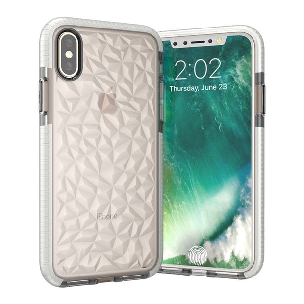 Soft Clear Silicon Cases For Iphone Xs Max 3D Rhombus Diamond Texture Back Cover Coque For Iphone Xr Protective Fitted Cases