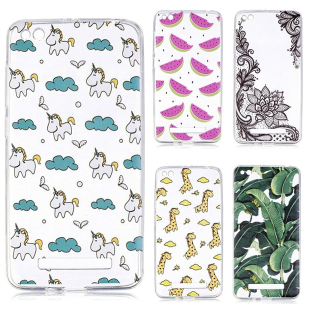Soft TPU Case For Xiaomi Redmi 4A Cases For Coque Redmi 4a Phone Case Back Cover Silicon Gel Fruits Unicorn Giraffe Etui Hoesjes