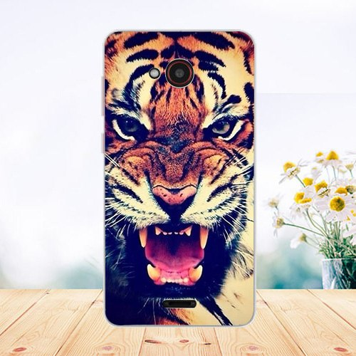 Soft Tpu Phone Case For Fly Fs458 Stratus 7 Cases Silicone Painted Wolf Cat Rose Fundas Sheer For Fly Stratus 7 ( Fs458) Cover