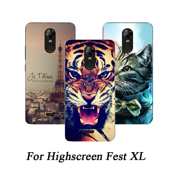 Soft Tpu Phone Case For Highscreen Fest XL Cases Silicone Painted Wolf Fundas Sheer For Highscreen Fest XL / XL PRO Back Cover
