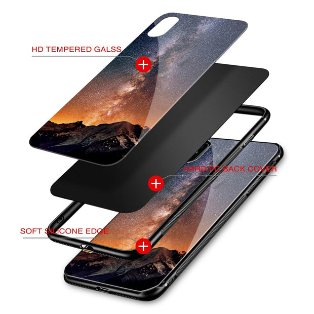 Star Sky Tempered Glass Case For IPhone X 6 6S 7 8 Plus X Case For IPhone 8 Plus Case For IPhone 7 Plus Case For IPhone 6 S Plus