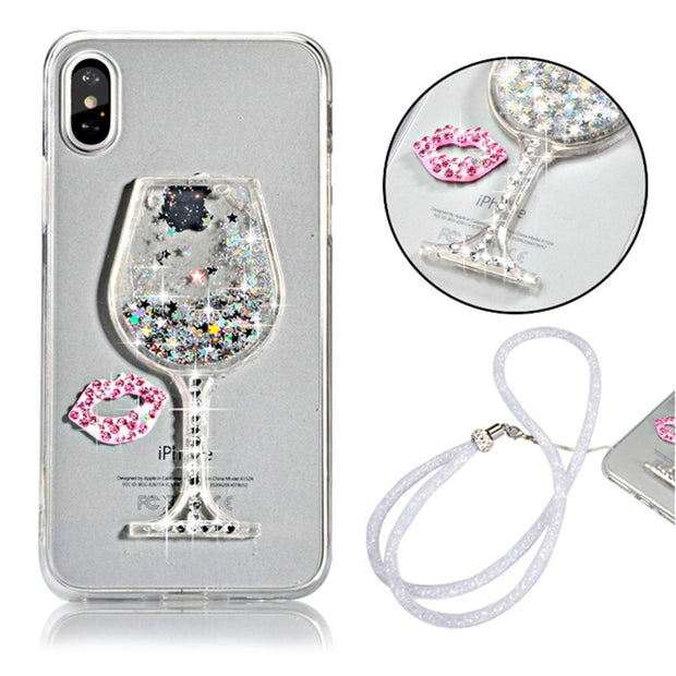 Strap Quicksand Clear Case For Huawei Enjoy 6 6S 7 Plus 7S Y3II Y5II Y3 Y5 Y6 Y7 Y9 2017 2018 Nova 3 3i 2 2S P9 P10 G9 Lite Plus