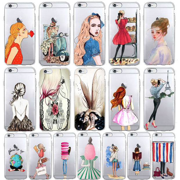 Stylish Girl Travel Leisure Beach Vacation Phone Case For IPhone 7 Case 6S 6 7 8 Plus X Se 4 5s Soft TPU Cover For IPhone 6 Case