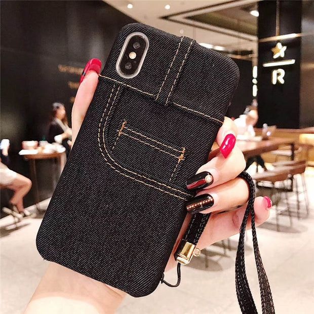 Superdope Denim Frabric For Iphone 6 S 6s 7 8 Plus Coque Hard Case Xs Max Xr 10 Fashion Covers Cute Back Cover Card Pocket