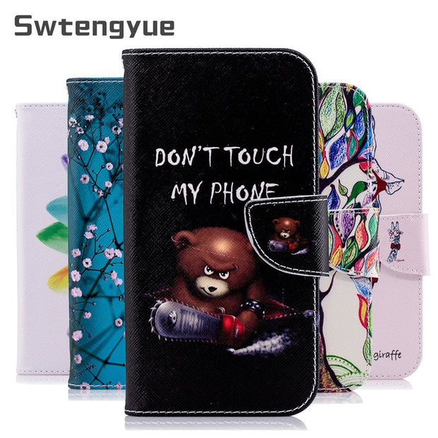 Swtengyue For Samsung Galaxy J4 2018 Case Magnetic Flip Wallet Stand PU Leather Cover For Samsung Galaxy J4 2018 J400 Phone Case
