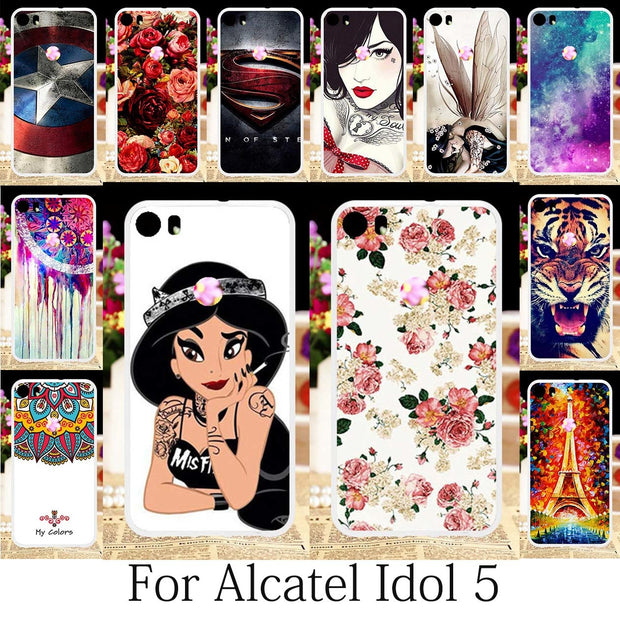 TAOYUNXI Case For Alcatel Idol 5 Case Silicone Patterned Fitted Alcatel Idol 5 Cover Cute Girls Anime Phone Coque Floral 5.2inch