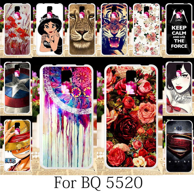 TAOYUNXI Case For BQ BQS-5520 Mercury Silicone Patterned Fitted Cover BQ 5520 Case Cute Anime Coque Floral Phone Shells 5.5 Inch
