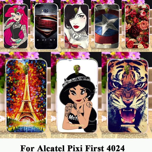 TAOYUNXI Silicone Phone Cover Case For Alcatel OneTouch Pixi First 4024 OT 4024D 4024X 4.0 Inch Case TPU Shell Gel Phone Housing