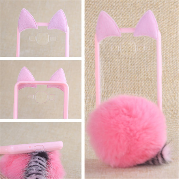 TENENELE Phone Case 5.0''For OPPO A33 NEO7 Cute Fur Furry Ball Rabbit Cover Soft Silicon Coque Cases For OPPO NEO7 A33