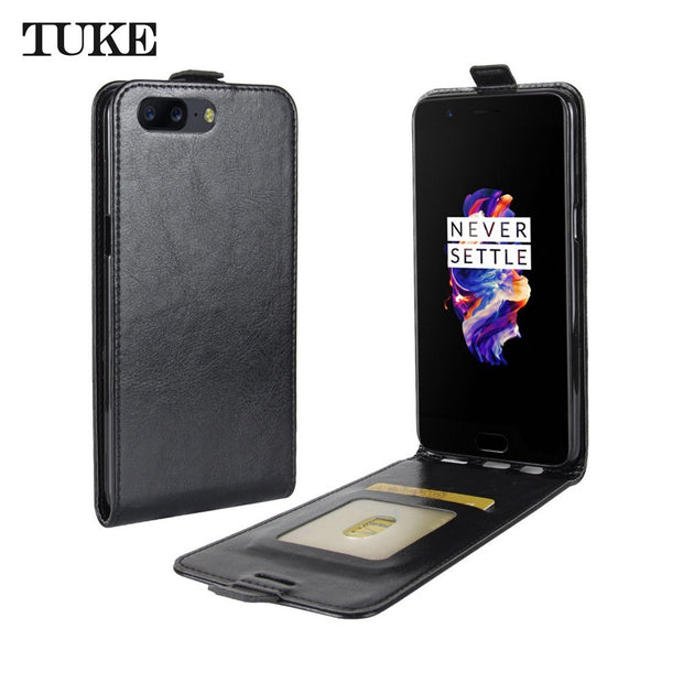 TUKE Case For Oneplus 5 Oneplus5 Vintage Leather Flip Silicon Coque Cover Case One Plus A5000 Business Vertical Phone Bag Funda