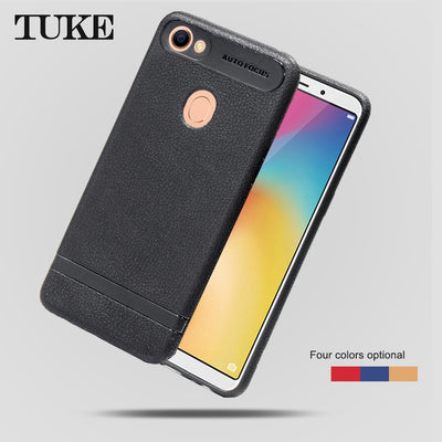 TUKE Phone Case For OPPO F5 A73 A75S Back Covers Litch Pattern Soft Silicone TPU Cover Case For OPPO F5 A73 Mobile Phone Celular