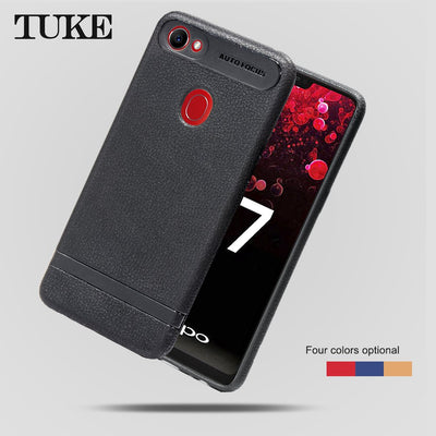 TUKE Phone Case For OPPO F7 Back Covers Litch Pattern Soft Silicone TPU Cover Case For OPPO F7 Mobile Phone Celular