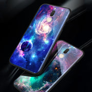 Tempered Glass Phone Cases For Huawei Nova 2i / Maimang 6 Cool Space Moon Case For Huawei Mate 10 Lite Planet Stars Back Cover