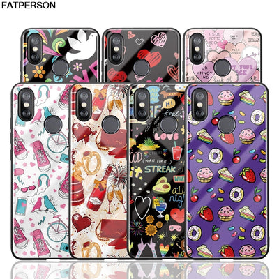 Tempered Glass Phone Case For Xiaomi Mi8 Cute Love Heart Art Printing Soft Silica Gel Phone Cover For MI MIX 2S Case Capa