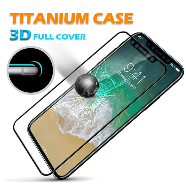 Titanium Alloy Metal Edge Tempered Glass Screen Protector Film For Apple IPhone X 7 8 6 6S Plus 3D Full Cover Glass