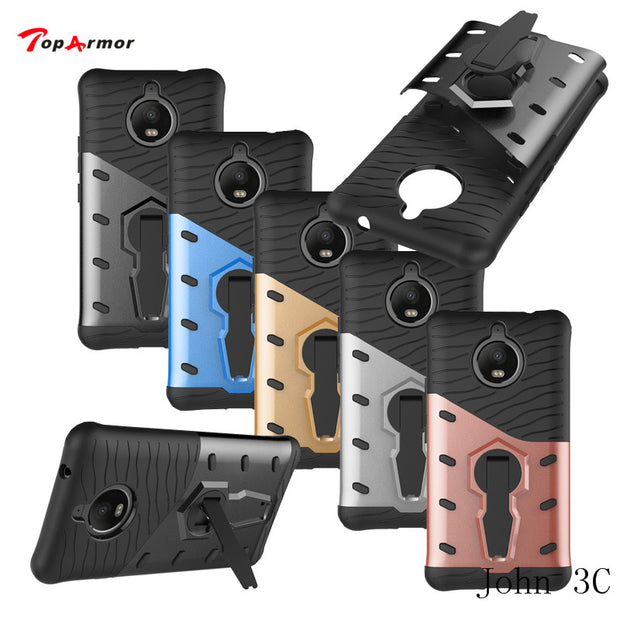 TopArmor Case For Motorola Moto E4 Plus Europe XT1770 XT1773 Shockproof 360 Swivel Stand Netted Armor Anti-knock Case Cover Bags