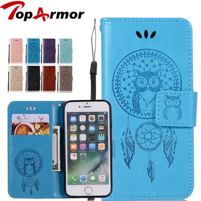 TopArmor For Fundas Apple Iphone 7 PLUS/8 PLUS Flip Leather Cases Campanula Owl Wallet Cover Stand Phone Cases