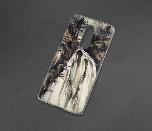 Transparent Hard Case For Oneplus 6 Chinese Watercolor Painting Printing Drawing Hard Phone Cases Cover For Oneplus 6