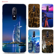 Transparent Hard Case For Oneplus 6 City Aerial View Night Printing Drawing Hard Phone Cases Cover For Oneplus 6