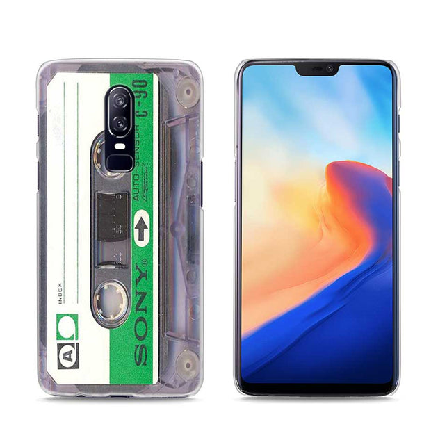 Transparent Hard Case For Oneplus 6 Classical Old Cassette Printing Drawing Hard Phone Cases Cover For Oneplus 6