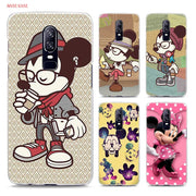 Transparent Hard Case For Oneplus 6 Colorful Mickey Minnie Mouse Hipster Printing Drawing Hard Phone Cases Cover For Oneplus 6