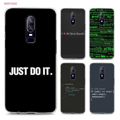 Transparent Hard Case For Oneplus 6 Colorful Program Words Printing Drawing Hard Phone Cases Cover For Oneplus 6