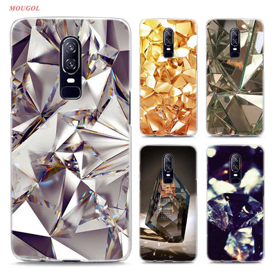 Transparent Hard Case For Oneplus 6 Crystal Diamond Printing Drawing Hard Phone Cases Cover For Oneplus 6