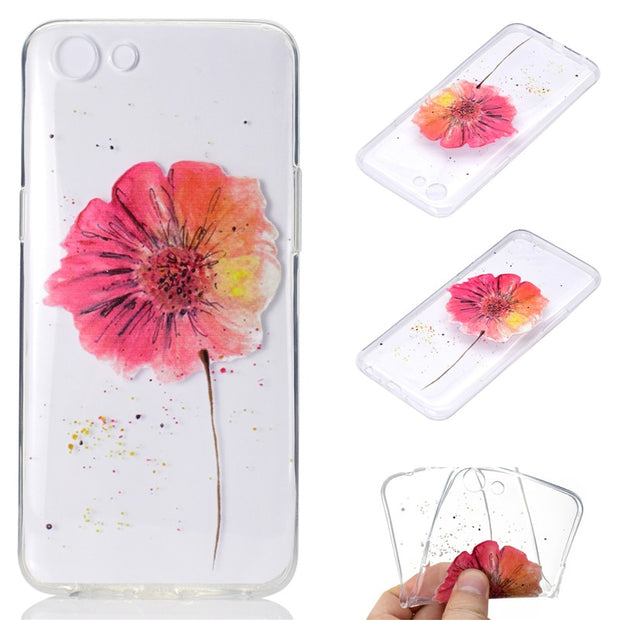 Transparent Soft TPU Cover For OPPO A83 A1 Case Colour Decoration Tower Bike Butterfly Girl Design Mobile Phone Cases