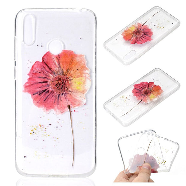 Transparent Soft TPU For Huawei Honor 8C Case Cover Colour Decoration Tower Bike Butterfly Girl Design Mobile Phone Shell