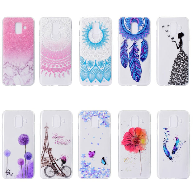 Transparent Soft TPU For Samsung Galaxy A6 Case Colour Decoration Tower Bike Butterfly Girl Design Mobile Phone Cases Cover