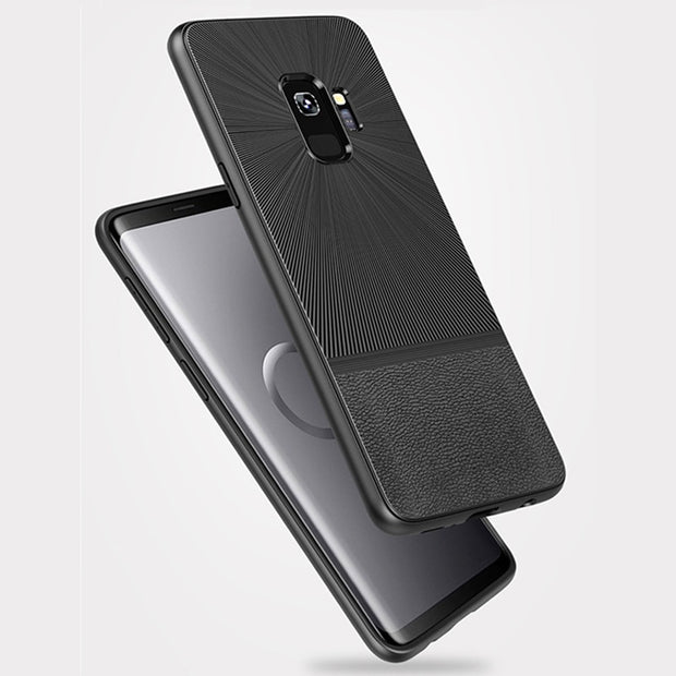 Ultra Thin Leather Skin Case For Samsung S9 Plus S9 Business Style Silicone Case For Samsung Galaxy S9 Plus Protector Back Cover
