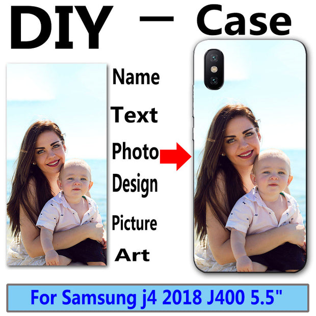 "Unique Personalized Customized DIY Photo Name Printing Your Design Picture Phone Cases For Samsung J4 2018 J400 5.5"" Cover"