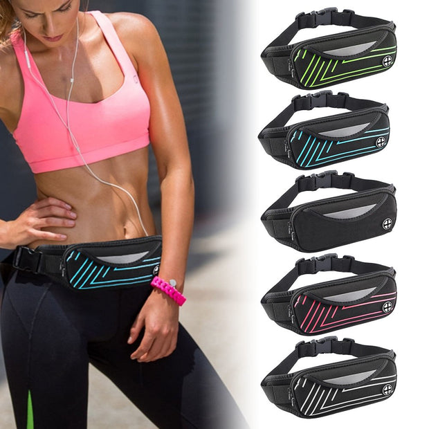Unisex Waist Pack Waterproof Fanny Bag Reflective Phone Pouch For Sports Running Jogging Gym JLRL88