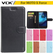 VCK For Motorola MOTO X Force Droid Turbo 2 XT1585 5.4 Inch Wallet Credit Card Book Style Flip Stand Leather Case Back TPU Cover