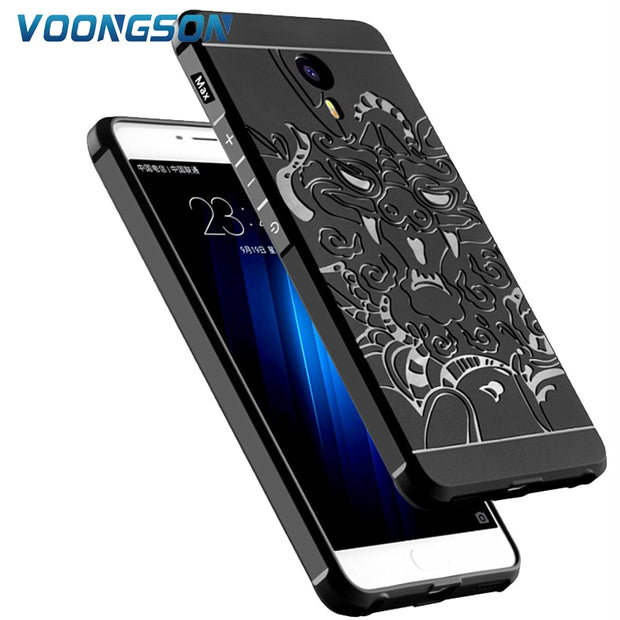 VOONGSON For Meizu M3 Max Silicone Case Luxury 3D Carved Dragon Orginal Matte Soft Anti-knock Phone Cases Back Cover Coque Max3