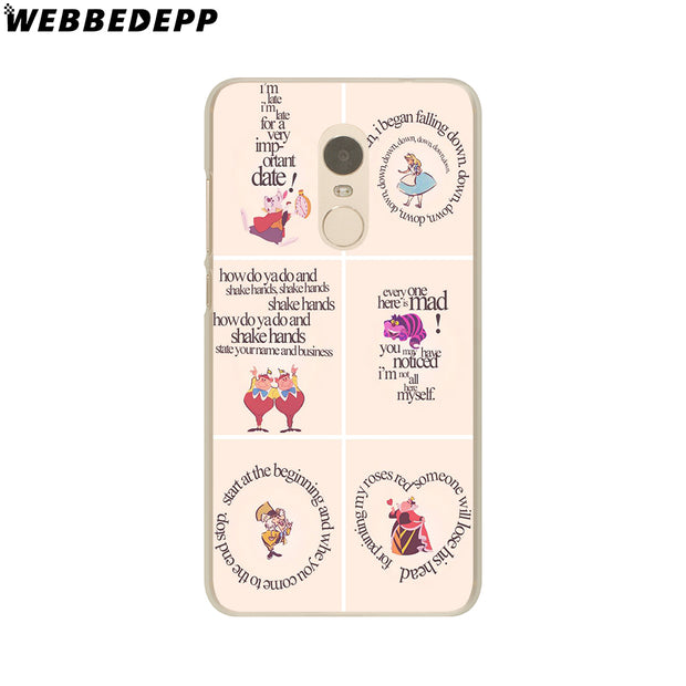 WEBBEDEPP Alice In Wonderland Anime Phone Case For Xiaomi Redmi 4X 4A 5A 5 Plus 6 Pro 6A S2 Note 5 6 Pro 4X Cover