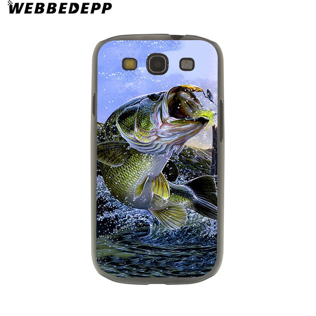 WEBBEDEPP Bass Fishing Lake Sunset Fisherman Hard Transparent Phone Case For Galaxy S6 S7 Edge S9 S8 Plus S5 S4 S3 Cover