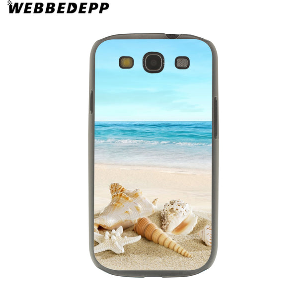 WEBBEDEPP Beach Starfish Landscape Hard Transparent Phone Case For Galaxy S6 S7 Edge S9 S8 Plus S5 S4 S3 Cover