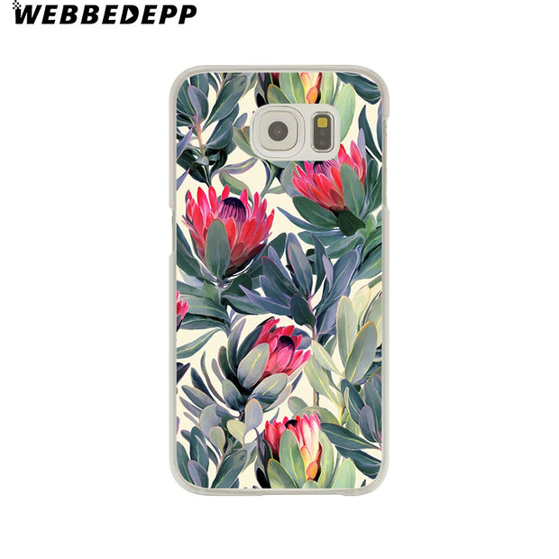 WEBBEDEPP Beautiful Flowers Datura Flower Hard Transparent Phone Case For Galaxy S6 S7 Edge S9 S8 Plus S5 S4 S3 Cover